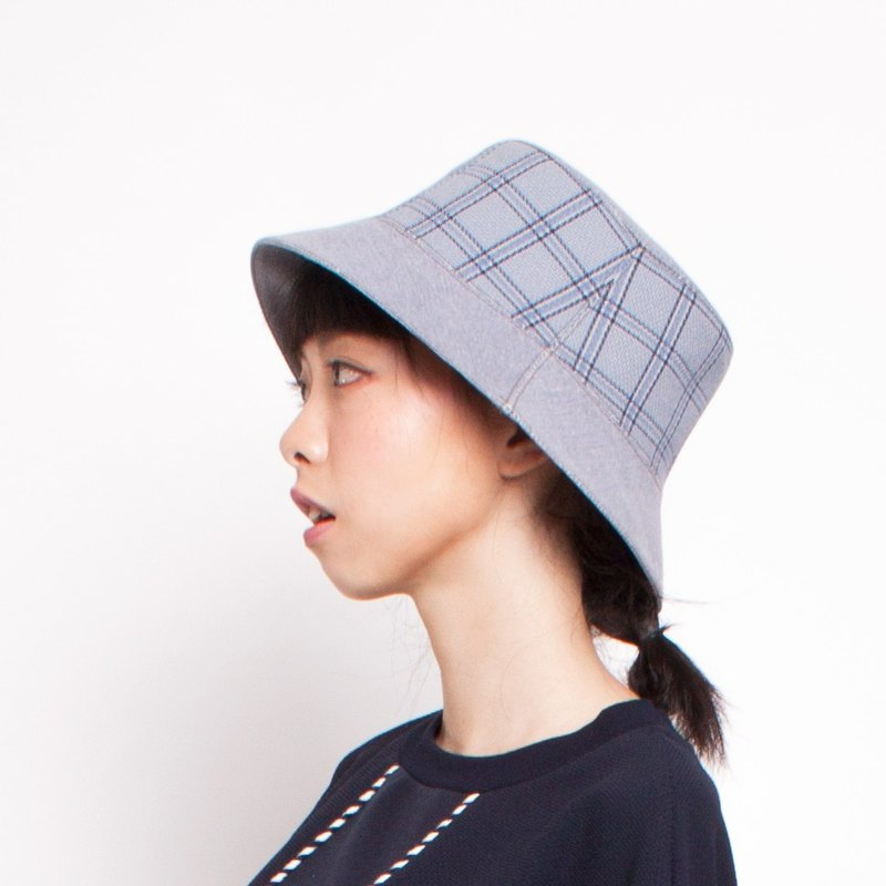 JOJA│ ash gray checkered x-sided hat Stock No. L