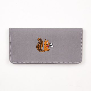 Bentoy x Crying Animals - Embroidered Canvas Long Clip - Squirrel