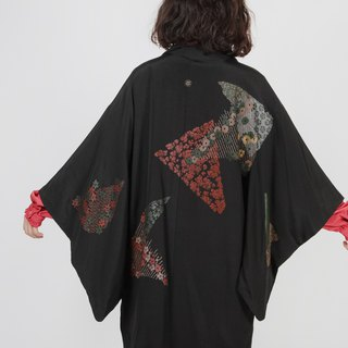 [Egg Plant Vintage] Geometric Flower Field Glitter Textured Vintage Kimono Feather