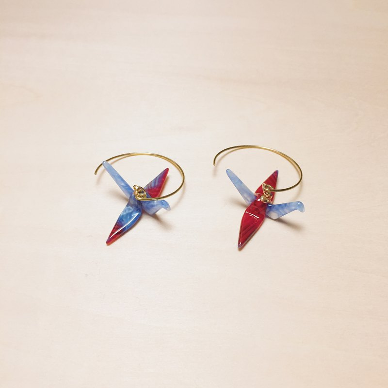 Vintage red blue paper crane big round earrings