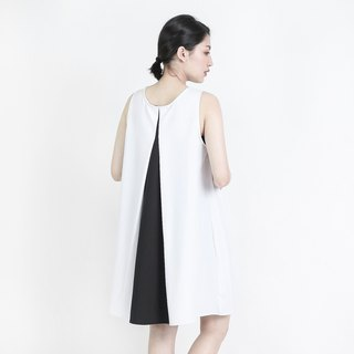 Twotone two-color asymmetrical asymmetrical vest dress _8SF112_白