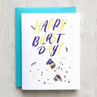 Happy Burstday Letterpress Card