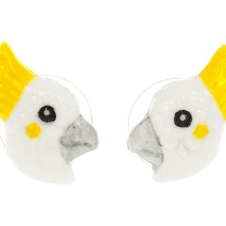 White porcelain earrings parrot animal Christmas gift