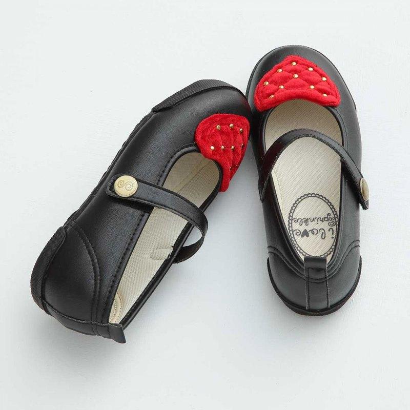 Queenie毛毛紅愛心黑色娃娃鞋