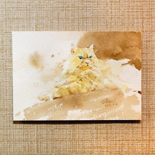 Watercolor painting [Caramel cat odd flowers]
