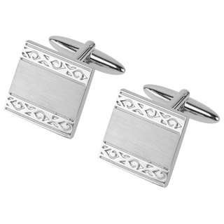 Vintage Pattern Brush Silver Cufflinks