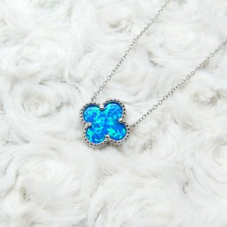 Four Leaf Clover Clavicle Necklace Sterling Silver Sideways Opal Choker