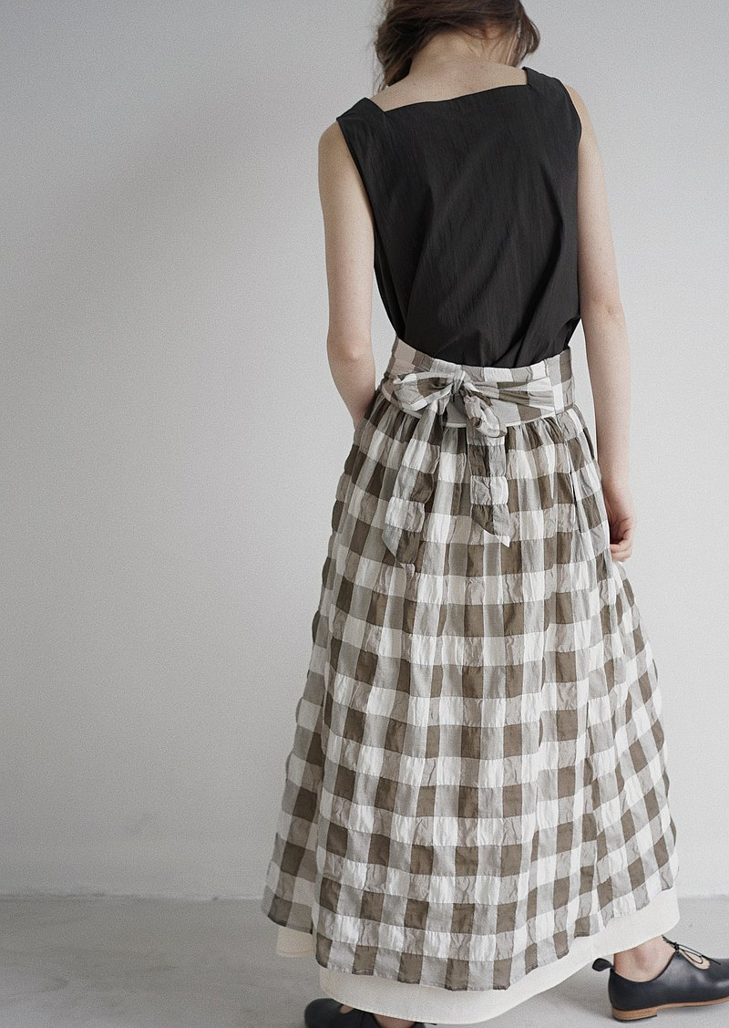 Bowknot Checked Skirt SOMEPIECE