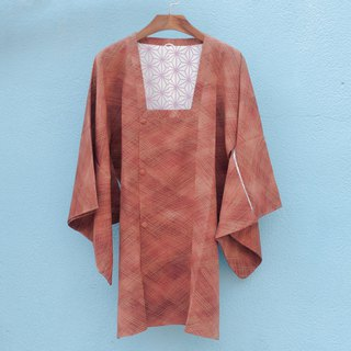 Vintage kimono / are silk orange blooming dyed lines