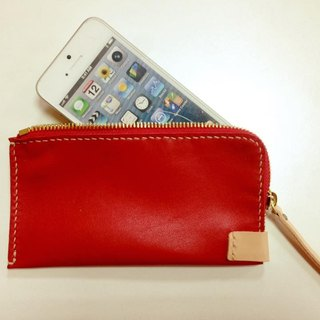 GREEN STAGE whole Sew zip iPhone 6 / iPhone 6s phone holster - warm red and soft sheep skin _