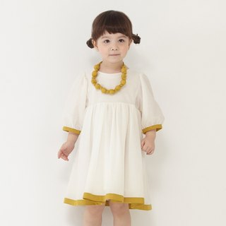 Ángeles-rolled color pleated sleeve dress