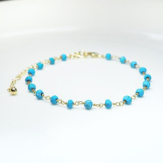 [Lalune] December birthday stone - the sky of the indigo Turkish stone yellow K sterling silver bracelet