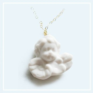 Cupid's vows little angel retro style white ceramics American 14kgf gold necklace