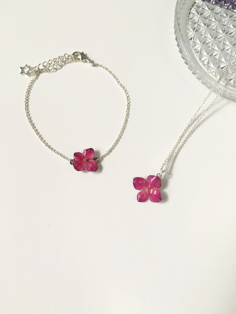 Micro jewelry - hydrangea mini real flowers clavicle chain bracelet necklace set (true three-dimensional flower) Limited product