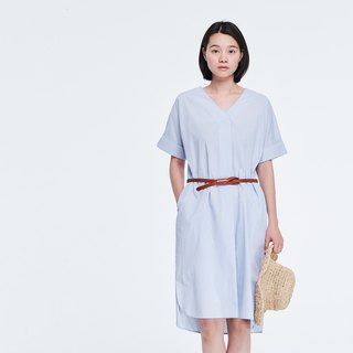 Edith Shortsleeve Shirtdress in Blue Striped Cotton