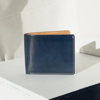 ALEX- HIGH QUALITY COW LEATHER FROM FRANCE SHORT WALLET- NAVY BLUE