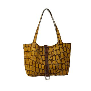 AMINAH-Yellow Crocodile Embossed Leather Tote [Art.201]