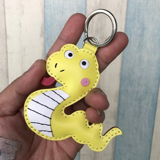 Leatherprince Handmade Leather Taiwan MIT Yellow Cute Snake Hand-sewn Leather Keyring Small Size small size