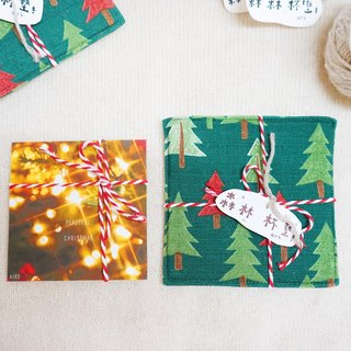 Light Christmas combination (including a small card and a coaster)