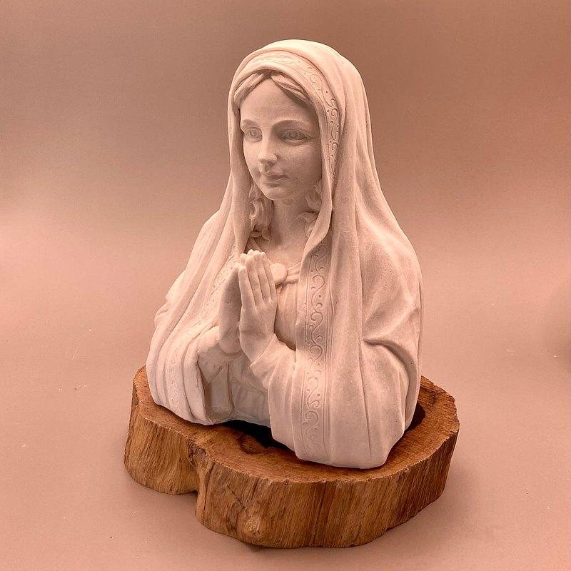 祈禱聖母半身塑像  擴香石含  含木座