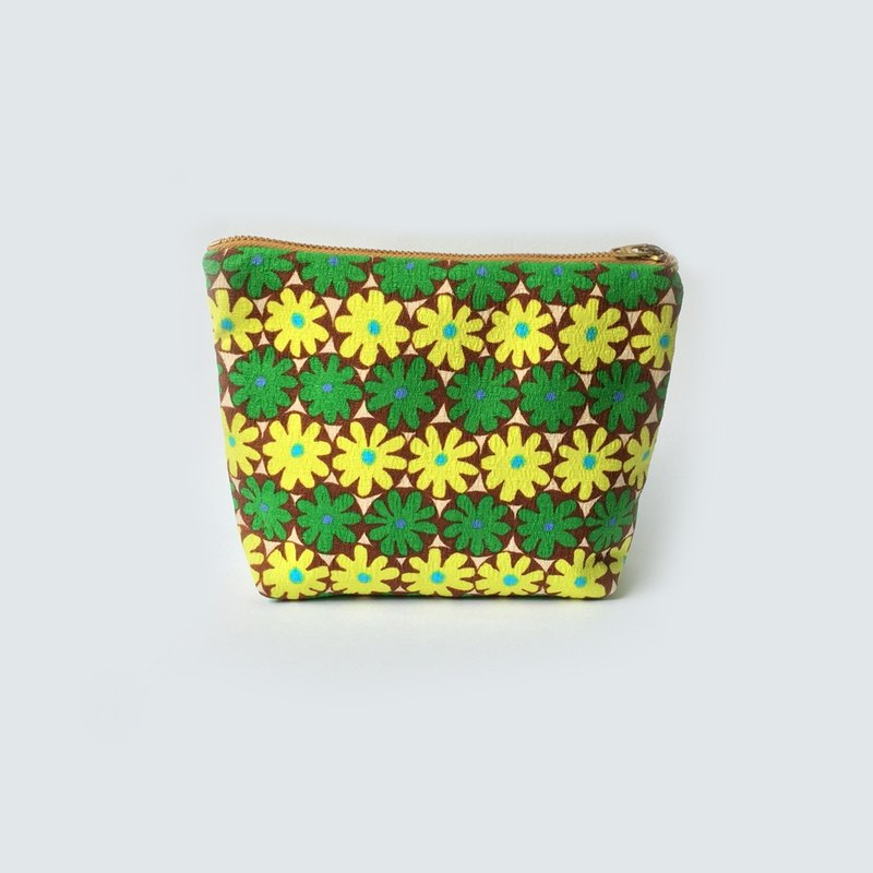 Retro Flowers Travel Pouch, Green, Yellow, Makeup Bag, Cosmetic Purse