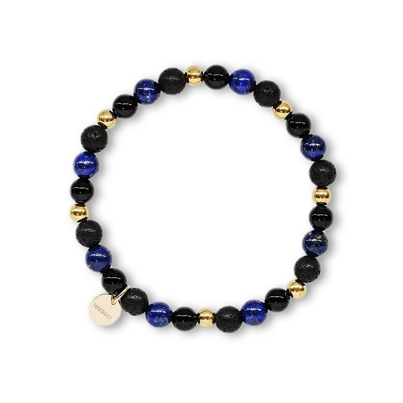 String series brass black onyx volcanic rock lapis lazuli bracelet natural ore