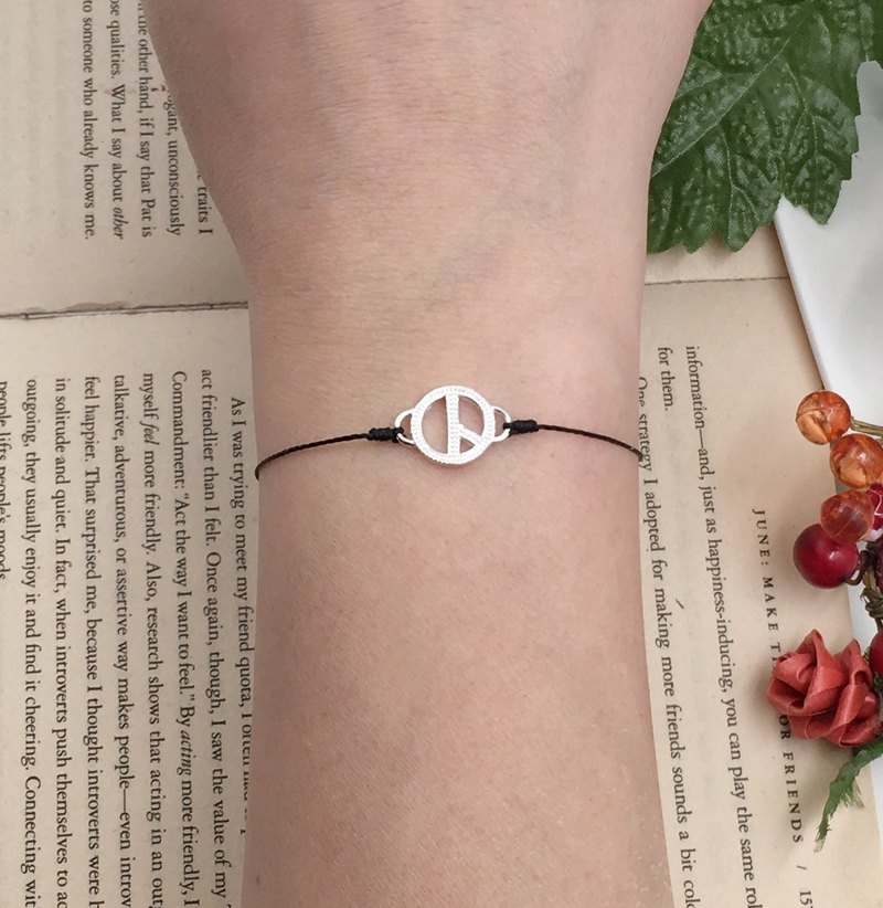 *Le Bonheur happy Line line*925 Silver peace symbol PEACE / red double-sided silver bracelet engraved black singlet anti-villain
