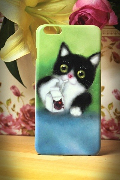 Watercolor cat s004 world for cats meow David Videos iPhone i5.i6s, i6splus / Android Samsung Samsung, HTC, Sony designer handsets shell / protective cover / kitty cat phone shell