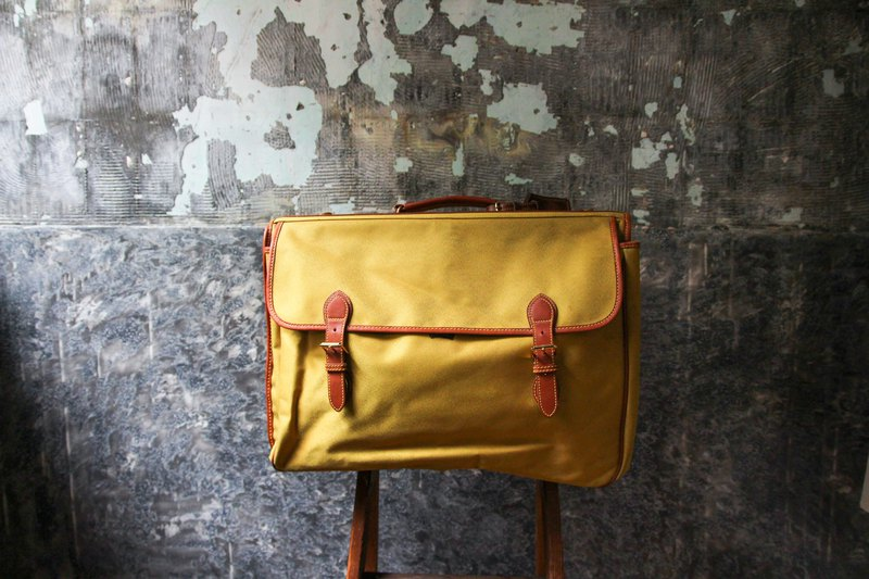 袅袅 department store -Vintage cowhide canvas hand luggage bag retro