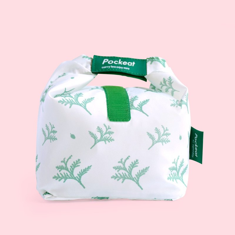Good day | Pockeat green food bag (small food bag) - red dragonfly in the snow