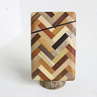 Parquet business card holder herringbone