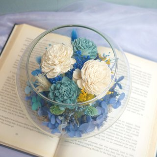 Eden Collection - Rosemary blue and white sun rose hydrangea glass ball micro landscape
