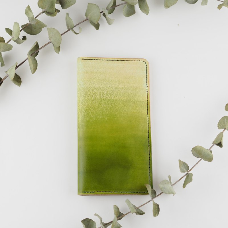 Leather Long Clip Card Holder Business Card Holder Green Gradient