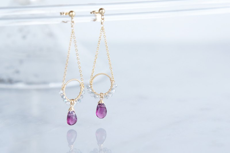 【14KGF】Rhodorite Garnet Earrings-B-