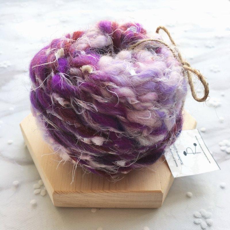 葡萄紫手捻線/手紡線/手作線材/毛線/DIY材料/材料包/手作材料包