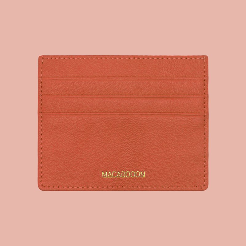 Italian Real Leather Orange Card Case Wallet Purse Card Case Card Holder Card Holder Card Holder