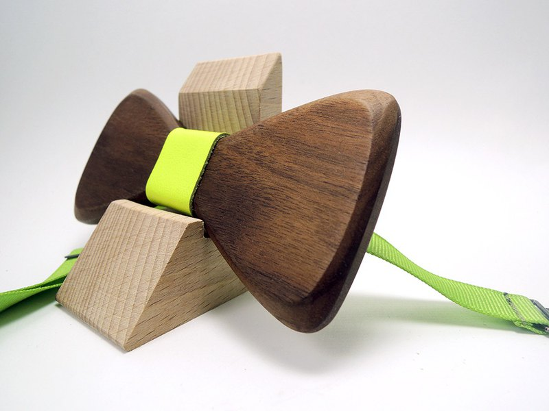 Natural Wood Bow Tie - Walnut + Fluorescent Green Leather (Groom / Wedding / Christmas / Official / Valentine's Day)