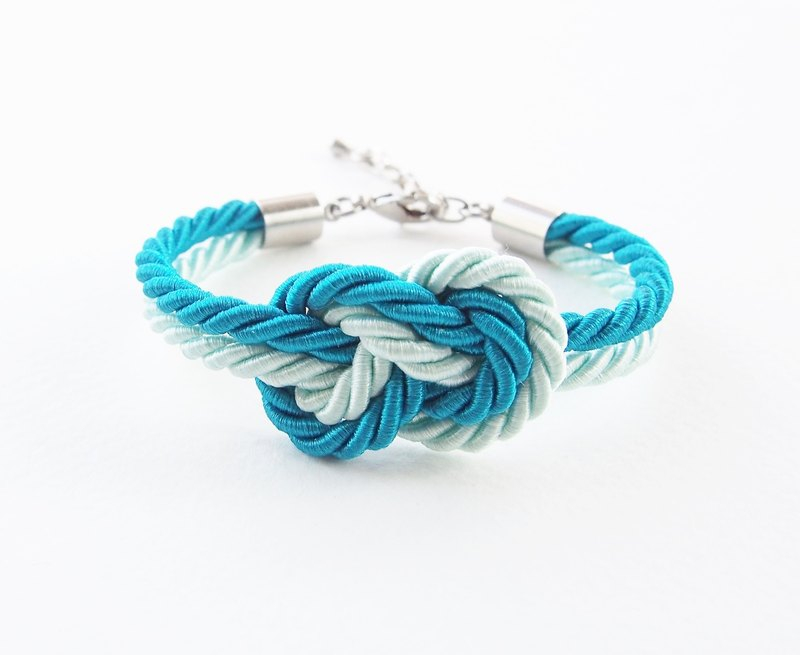 Ocean blue and light mint infinity knot bracelet
