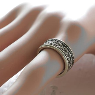 Cigar Band Sterling Silver Ring Boho Celtics Braid Wide Bohemian Women hippy 925