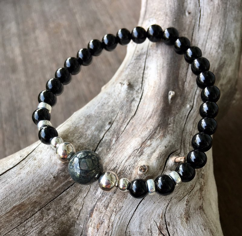 6mm black tourmaline design bracelet / with agate pyrite beads