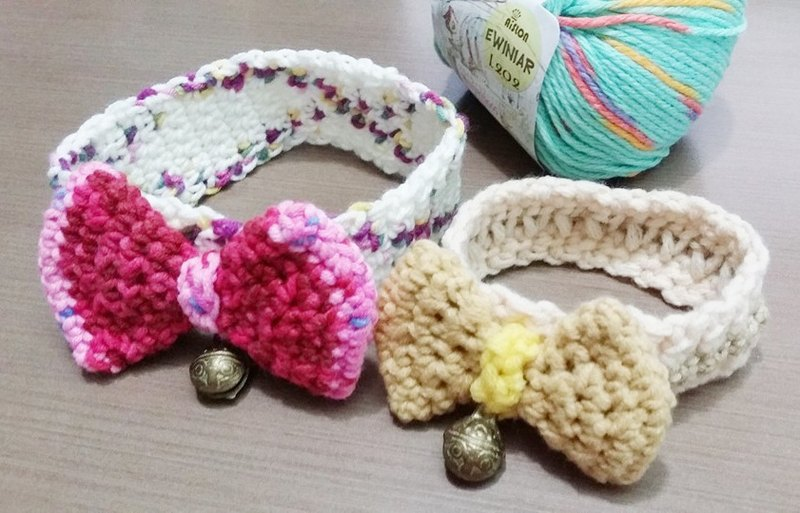 Pet bow knit collar