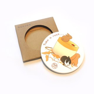 Rabbit Ceramic Waterproof Coaster ~ Dessert Series ~ Mousse Rabbit