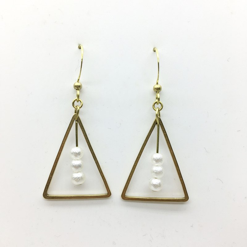 Laolin groceries l hand made brass earrings cotton pearl triangle brass ear hook l ear pin l ear clip