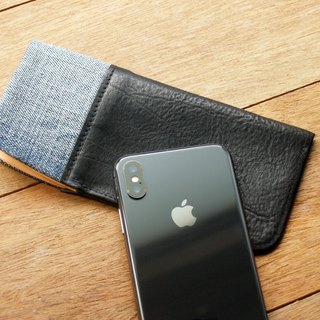 weekenlife - Leather Phone Case for iPhone X / Xs ( Custom Name ) - Jeans Black