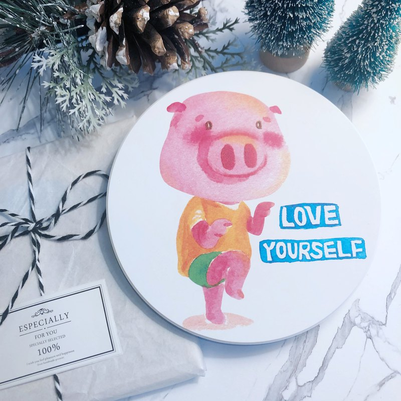 Love yourself piglet water coaster coaster