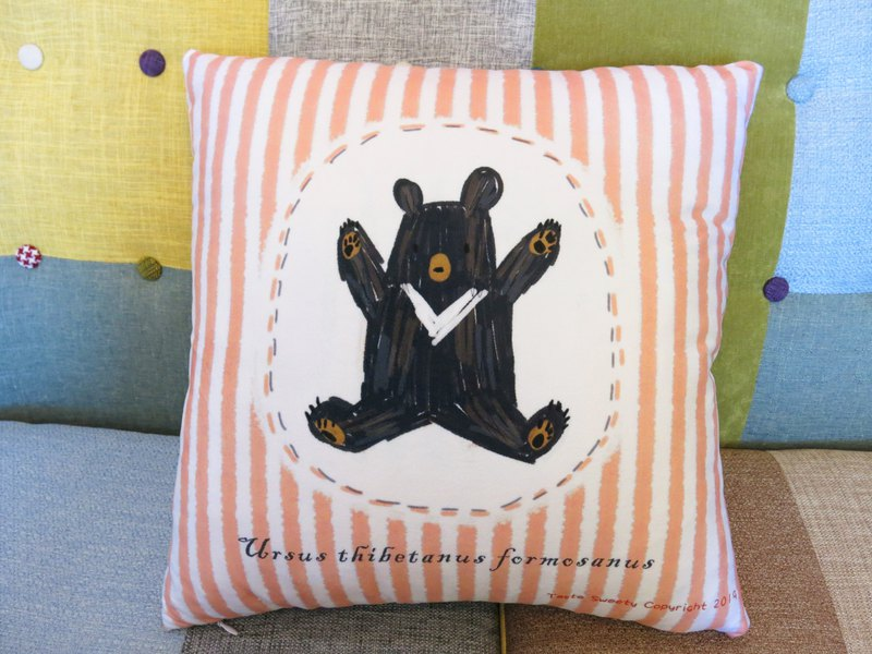 Happiness Design-Beige Striped Black Bear Pillow