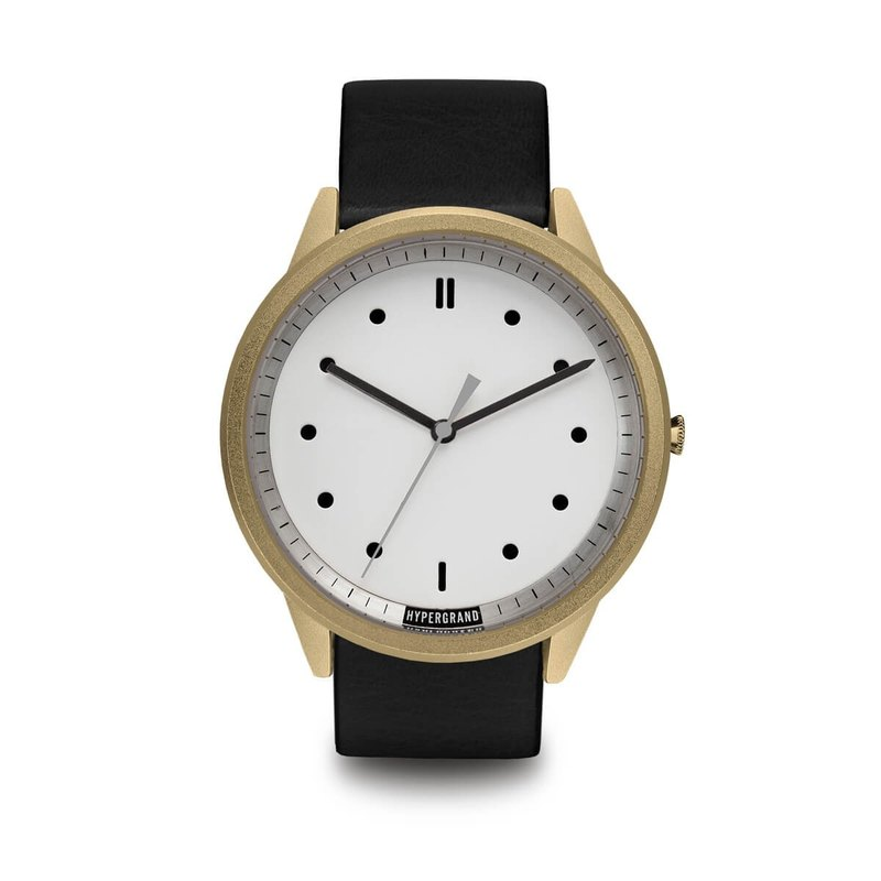 HYPERGRAND - 02 Basic Series - Gold White Dial Black Leather Watch