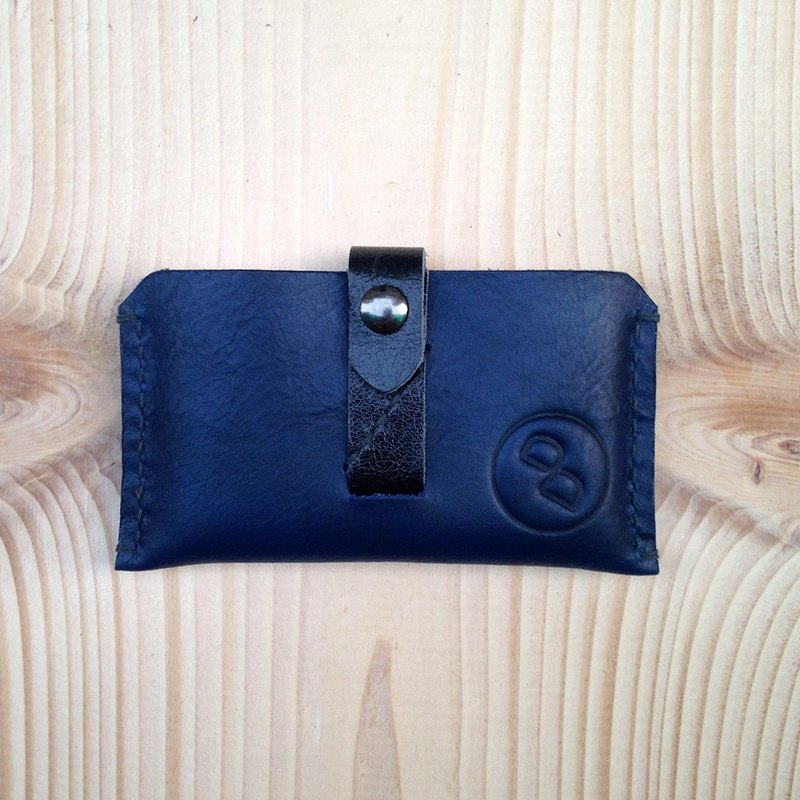 DUAL - hand-sewn leather minimalist high-capacity business card holder - dark blue