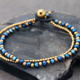 Beaded Strand Bracelets Crystal Faceted Czech Beads Midnight Blue Cocktail