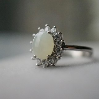 ITS-R105 [gem series, Hetian jade] 925 silver ring.